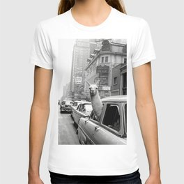 Llama Riding in Taxi, Black and White Vintage Print T-shirt