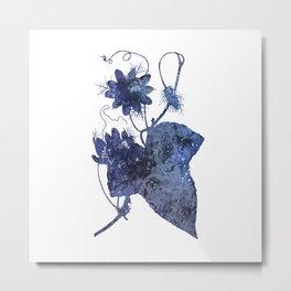 Watercolor Indigo Passion Flower Metal Print