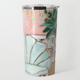 Art Deco Velvet Mint Shell Chair in Jungle Room with Tigers Travel Mug