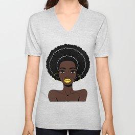 Afrowoman - Afro woman - Black girl - Black queen Unisex V-Neck