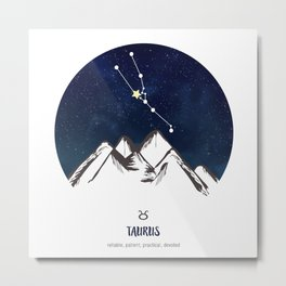 Astrology Taurus Zodiac Horoscope Constellation Star Sign Watercolor Poster Wall Art Metal Print