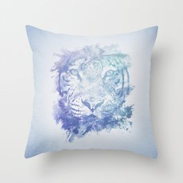 Abstract Watercolor Tiger Portrait / Face Throw Pillow