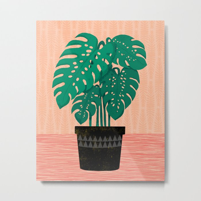 Cheese Plant - Trendy Hipster art for dorm decor, home decor, ferns, foliage, plants Metal Print
