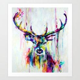 Deer Melting Colors Art Print