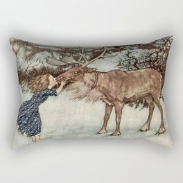 """Gerda Kisses The Reindeer"" by Edmund Dulac Rectangular Pillow"
