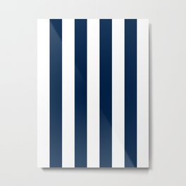 Vertical Stripes - White and Oxford Blue Metal Print