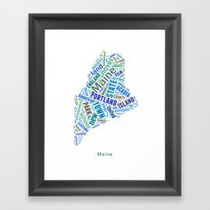 Word Cloud - Maine Framed Art Print
