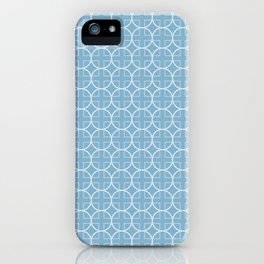 Soft Blue Geometric Pattern with Circles & Squares iPhone Case
