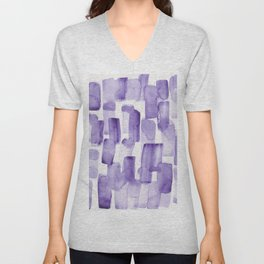 Purple Watercolour Patterns | 190129 Abstract Art Watercolour Unisex V-Neck