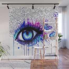 Colour pop eye and geometry Wall Mural