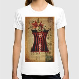 elegant girly lily flower newspaper print  black red corset T-shirt