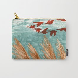 Geese Flying over Pampas Grass Carry-All Pouch