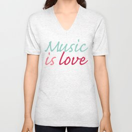 Music is Love Unisex V-Neck