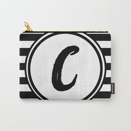 C Striped Monogram Letter Carry-All Pouch