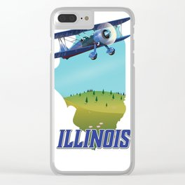 Illinois map travel poster. Clear iPhone Case