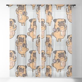 Bread Roll Pug Abs Sheer Curtain