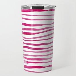 Irregular watercolor lines - pink Travel Mug