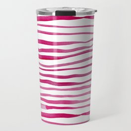 Irregular watercolor lines - pink Travel Mug