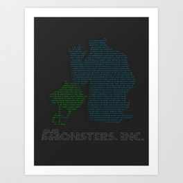 Monsters Inc Typography Art Print