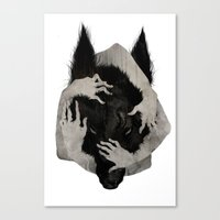 creepy Canvas Prints featuring Wild Dog by Corinne Reid