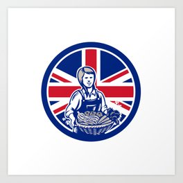 British Female Organic Farmer Union Jack Flag Icon Art Print
