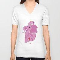 princess bubblegum V-neck T-shirts featuring princess bubblegum by Javiera Esquer
