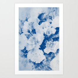 Roses-white and blue Art Print