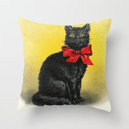 Pretty Black Cat- Vintage Cat Throw Pillow