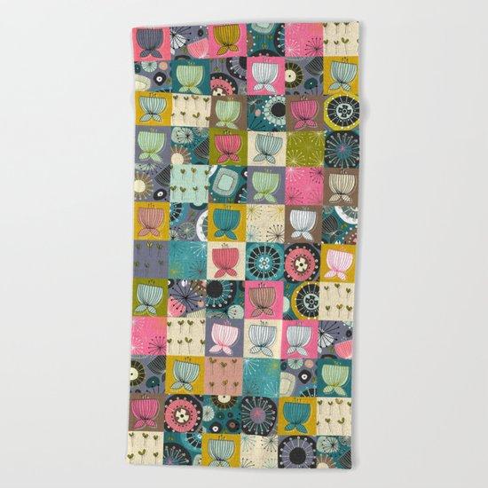 blooms patchwork Beach Towel