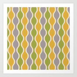 Classic Retro Ogee Pattern 847 Yellow Gray and Green Art Print