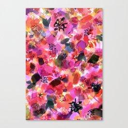 Peach Pink Tulip Floral Canvas Print