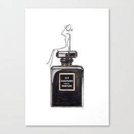Black parfum with girl Canvas Print