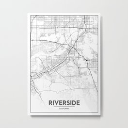 Minimal City Maps - Map Of Riverside, California, United States Metal Print