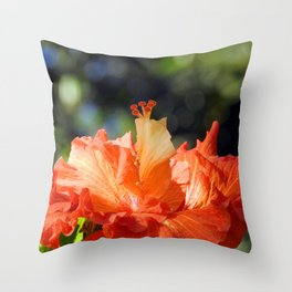 Flamingo Hibiscus Throw Pillow