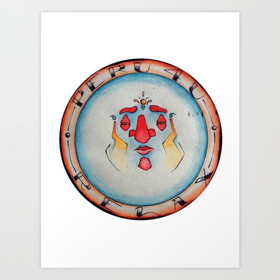 """Peru 4 U """"Relax"""" Motorcycle Gang Emblem *Color* Art Print"""