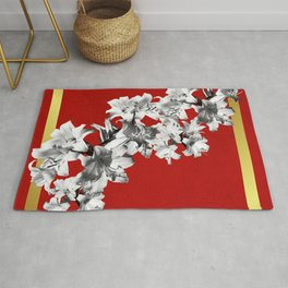 Lilies, Lily Flowers on Red Rug