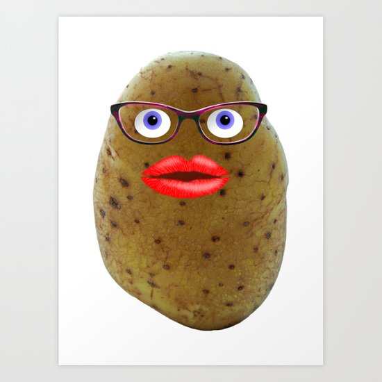 Funny Potato Cute Female Character With Glasses Art Print