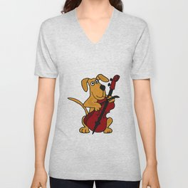 FunnyBrown Dog Playing Red Cello Artwork Unisex V-Neck
