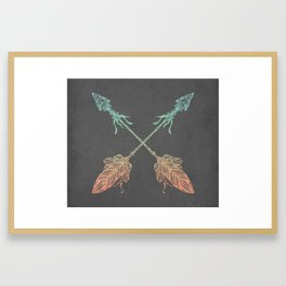 Tribal Arrows Turquoise Coral Gradient on Gray Framed Art Print