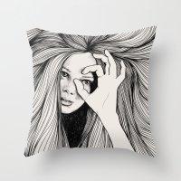 leo Throw Pillows featuring Leo by Hanna Viktorsson