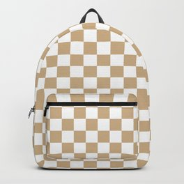 White and Tan Brown Checkerboard Backpack