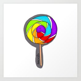 Colorful rainbow lollipop Art Print