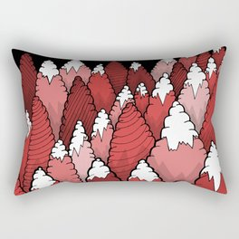 The Red forest under the mountain Rectangular Pillow