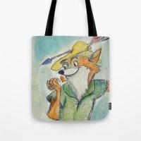 robin hood Tote Bags featuring Robin Hood  by Renatta Maniski-Luke