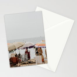 Pastel vintage people at the beach under parasol | Spain Travel photography | Fine art photo print Stationery Cards