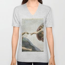 Michelangelo The Creation Of Adam Ultra HD Unisex V-Neck