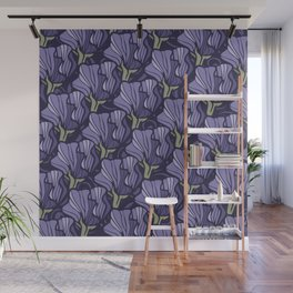 Purple Sweet Pea Pattern Wall Mural