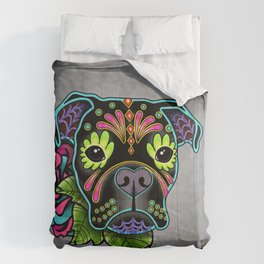 Boxer in Black - Day of the Dead Sugar Skull Dog Comforters