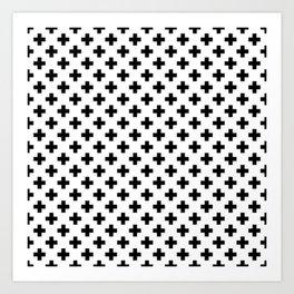 Black Crosses on White Art Print
