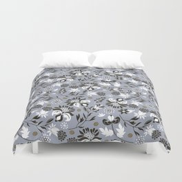 Victorian floral | slate gray Duvet Cover